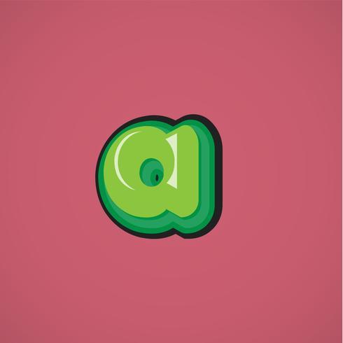 Groen komisch karakter van een fontset, vectorillustratie vector