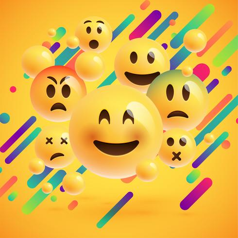 Gele emoticons met abstracte achtergrond, vectorillustratie vector