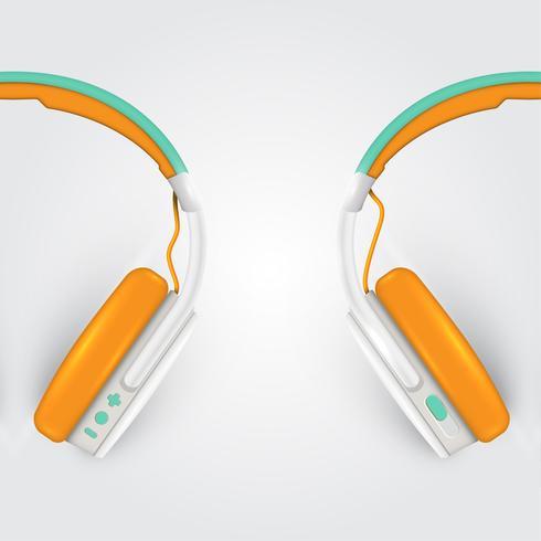 Realistische hoofdtelefoons, met draden op een kleurrijke achtergrond, vectorillustratie vector