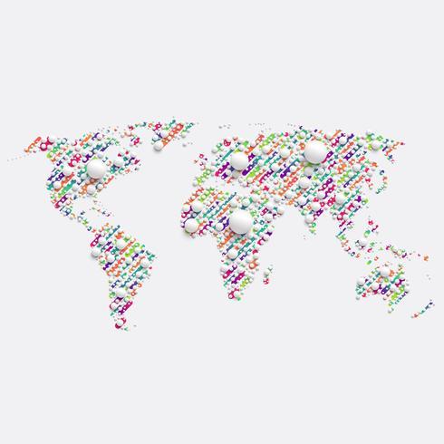 Witte wereldkaart gemaakt door ballen, vectorillustratie vector