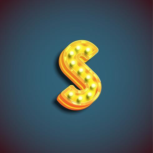 'Broadway' karakter met lampen van een lettertype, vectorillustratie vector