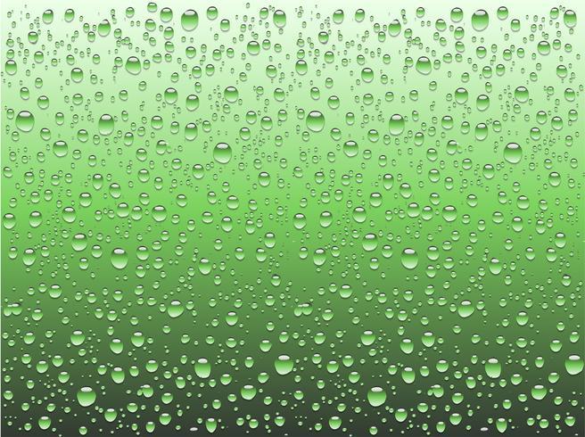 Realistische waterdalingen op een duidelijk glas, vectorillustratie vector