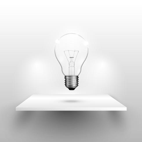 Lightbulb op een plank, realistische vectorillustratie vector