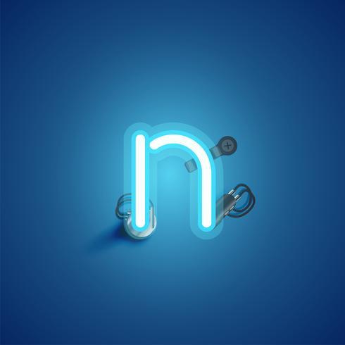 Blauw realistisch neonkarakter met draden en console van een fontset, vectorillustratie vector