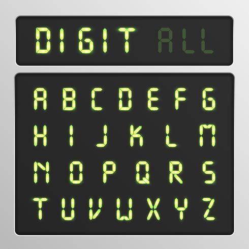 Digitaal karakter dat van een lettersoort op het scherm, vectorillustratie wordt geplaatst vector