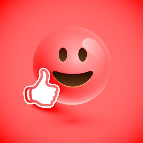 Emoticon met omhoog duimen, vectorillustratie vector