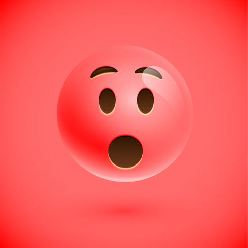 Rode realistische emoticon smileygezicht, vectorillustratie vector