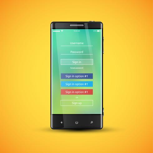 Eenvoudig en kleurrijk UI-oppervlak voor smartphones - Login-scherm, vectorillustratie vector