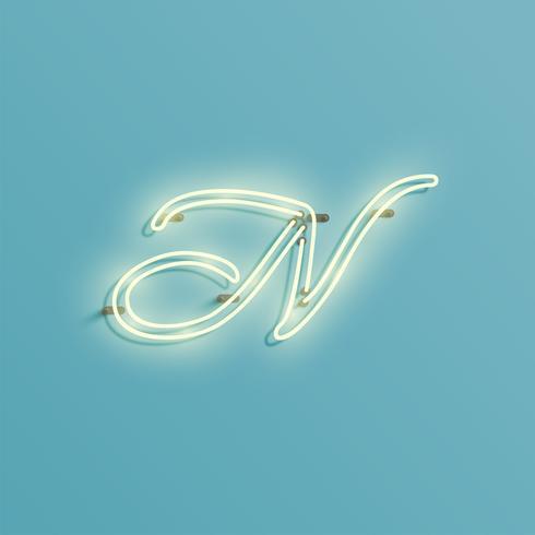 Realistisch neonkarakter van een fontset, vectorillustratie vector