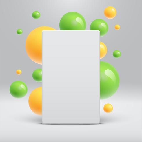 Leeg wit malplaatje met kleurrijke ballen die rond voor reclame, vectorillustratie drijven vector
