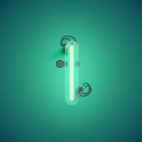 Groen realistisch neonkarakter met draden en console van een fontset, vectorillustratie vector