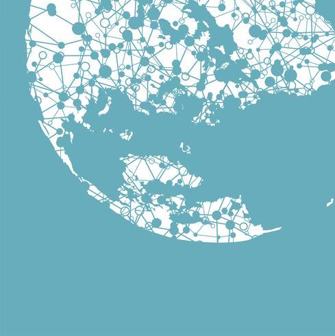 Gestippelde wereld met verbindingen, vectorillustratie vector