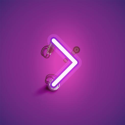 Roze realistisch neonkarakter met draden en console van een fontset, vectorillustratie vector