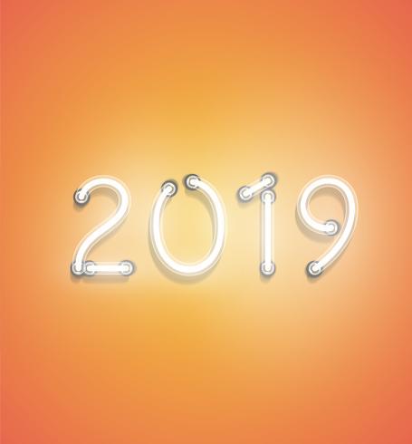 '2019' - Realistisch neonteken, vectorillustratie vector
