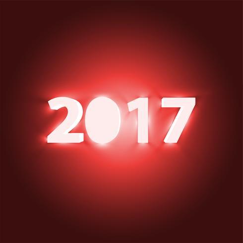 Neon 2017 schijnteken, vectorillustratie vector