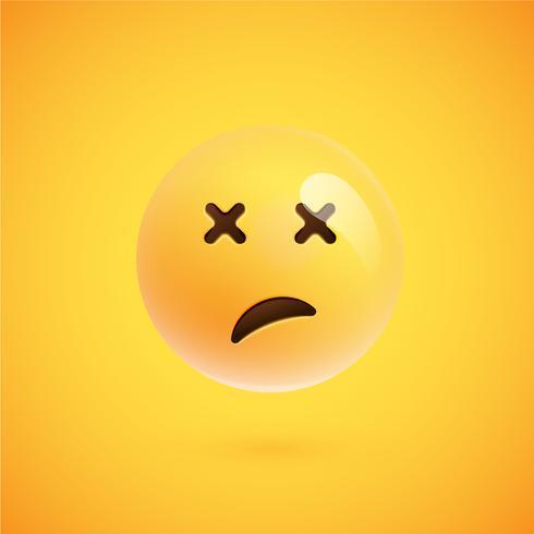 Realistische gele emoticon voor een gele achtergrond, vectorillustratie vector