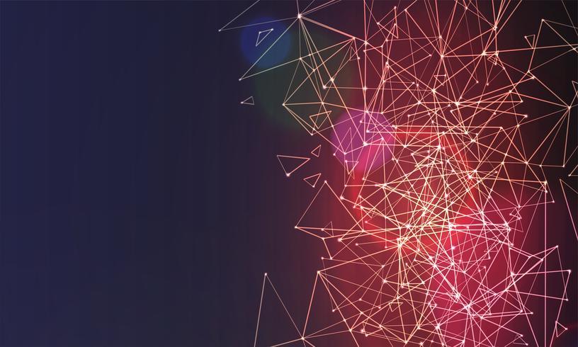 Abstracte veelhoekige kleurrijke achtergrond met verbonden punten en lijnen, verbindingsstructuur, futuristische hud achtergrond, hoge kwaliteit afbeelding met wazig delen vector
