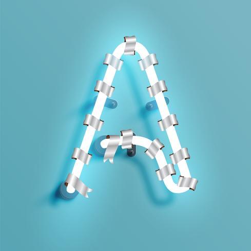 Neondoopvont van een fontset met de pijnboom van de Kerstmisdecoratie, vectorillustratie vector