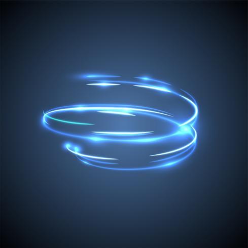 Neon onscherpe cirkels op een blauwe achtergrond, vectorillustratie. vector