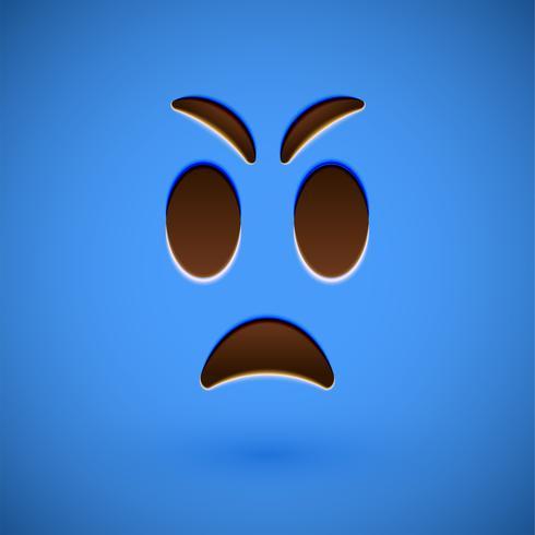 Blauw realistisch emoticon smileygezicht, vectorillustratie vector