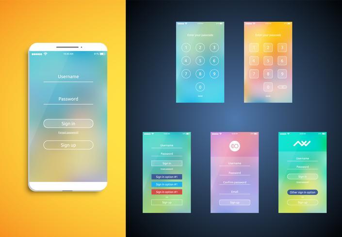 Eenvoudige en kleurrijke UI ingesteld voor smartphones - Login-scherm, vector ilustration