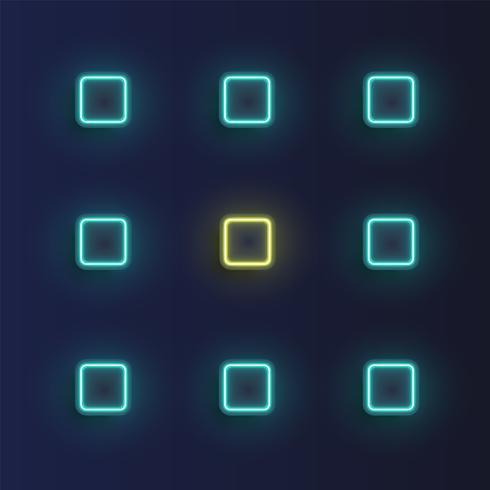 Hoog-gedetailleerde neonknopenachtergrond, vectorillustratie vector