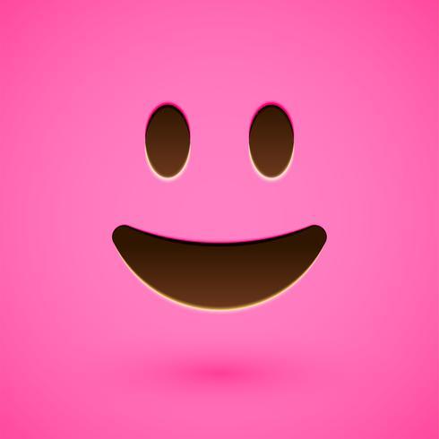 Roze realistische emoticon smileygezicht, vectorillustratie vector