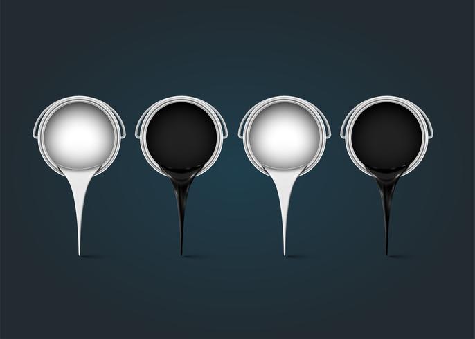 Zwart-witte blikken met inkt, realistische vectorillustratie vector