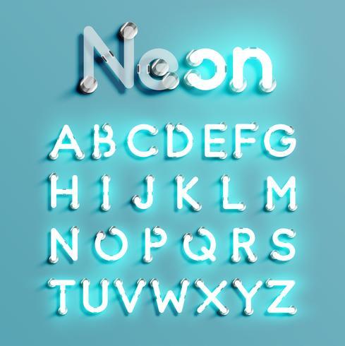 Realistische neonkarakter set, vectorillustratie vector