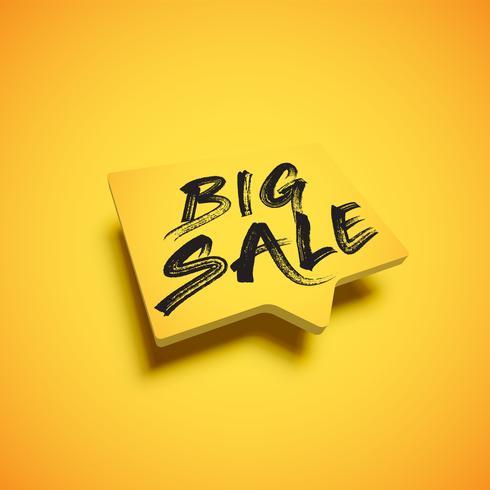 Hoog-gedetailleerde gele tekstballon met titel 'BIG SALE', vectorillustratie vector