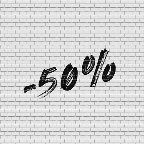 Hoog gedetailleerde bakstenen muur met percentage, vectorillustratie vector