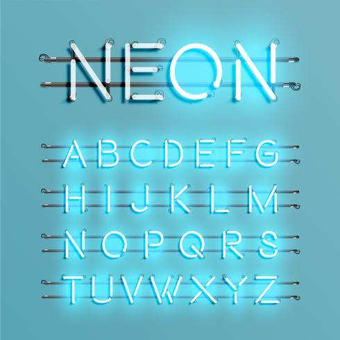 Realistische neondoopvont met draden en console, vectorillustratie vector