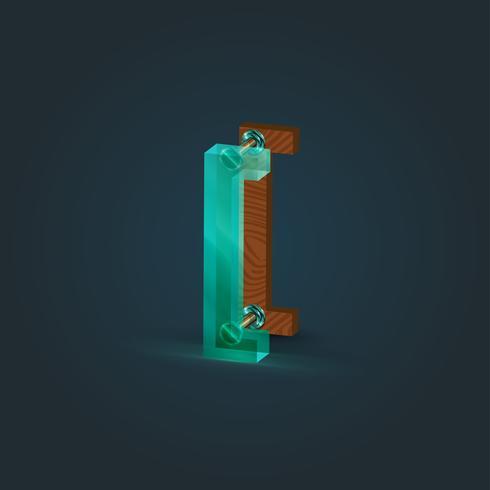 Realistisch hout en glaskarakter van een gezet, vectorillustratie vector
