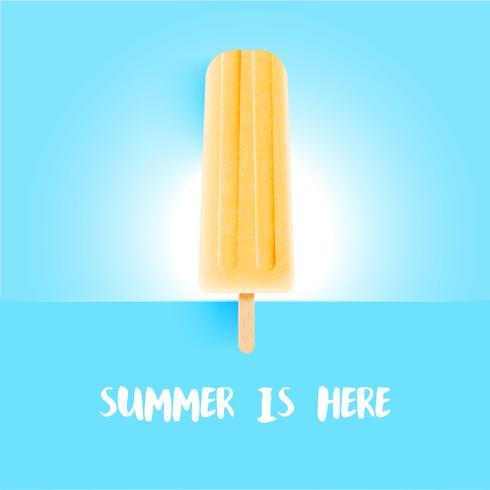 Realistisch kleurrijk roomijs met de titel van de zomer is hier, vectorillustratie vector