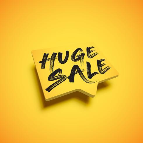 Hoog gedetailleerde gele tekstballon met de titel 'HUGE SALE' vector
