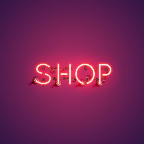 'SHOP' neon lettertype ondertekenen, vectorillustratie vector