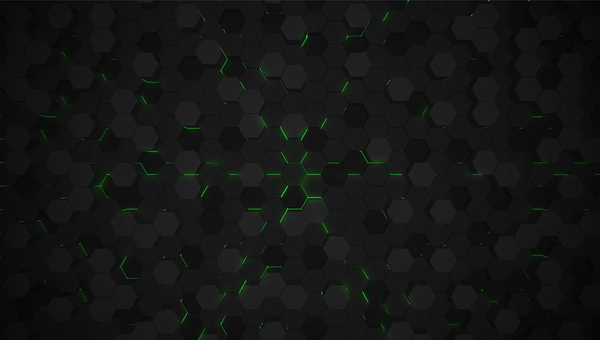 Groene 3D hexagon technologie-achtergrond, vectorillustratie vector
