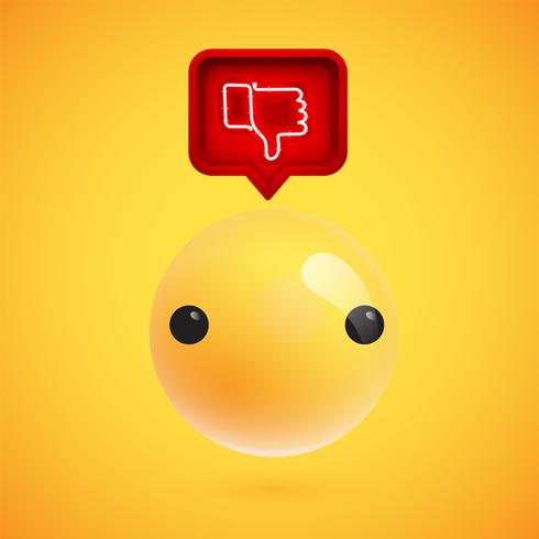 Realistische 3D-emoticon met neon gloeiende afkeer teken in een 3D-tekstballon, vectorillustratie vector