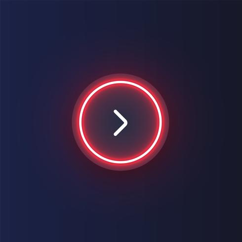 Kleurrijke neon 'volgende' knoop met een pijl, vectorillustratie vector