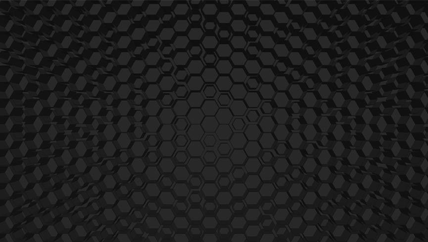 Zwarte 3D hexagon achtergrond van nettechnologie, vectorillustratie vector