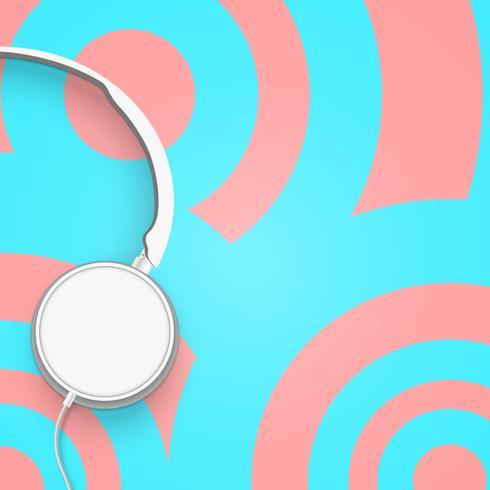 Realistische 3D verdeeld pastel cirkel gekleurde koptelefoon met draden vector