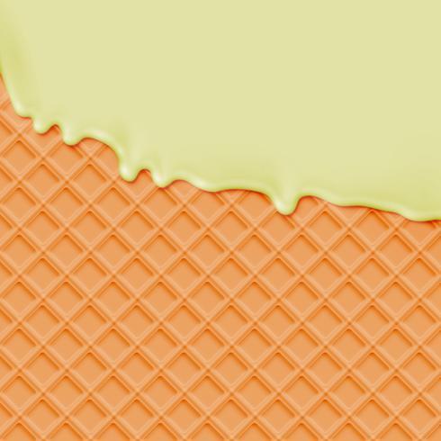 Realistische wafel met smeltend vanille-ijs vector