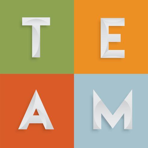 'TEAM' vierletterwoord voor websites, illustratie, vector