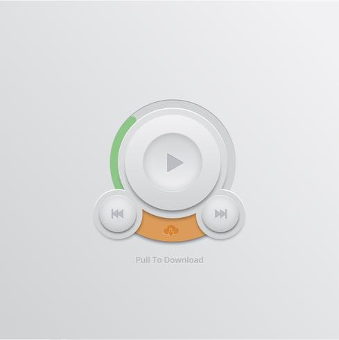 Downloadknop voor UI, vector