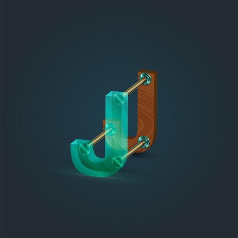 Karakter gemaakt door glas en hout, vector