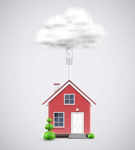 Realistisch huis verbonden met de cloud, vector
