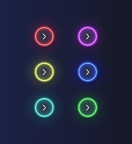 Kleurrijke neon 'volgende' knop set met een pijl voor websites of online gebruik, vectorillustratie vector