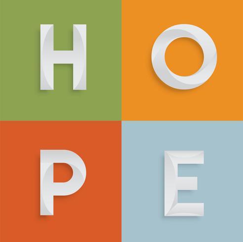 'HOOP' vierletterwoord voor websites, illustratie, vector