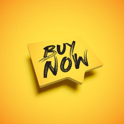 Hoog-gedetailleerde gele tekstballon met 'KOOP NU'-titel, vectorillustratie vector