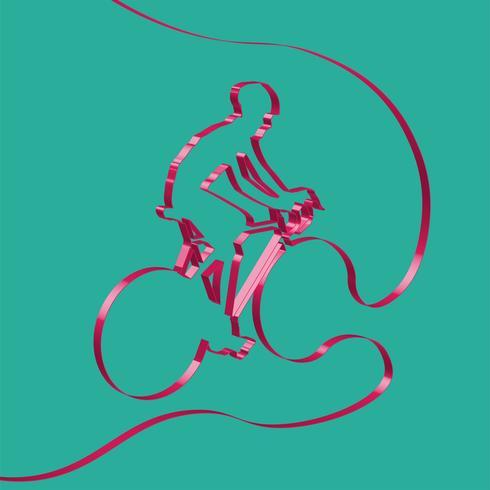 Het kleurrijke lint vormt een fietser, vector